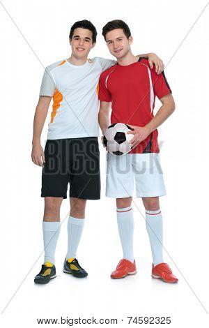 soccer players with a ball isolated on white background