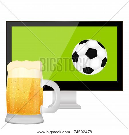 ball into the TV screen and beer
