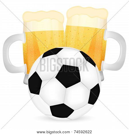 two mugs of beer and a soccer ball