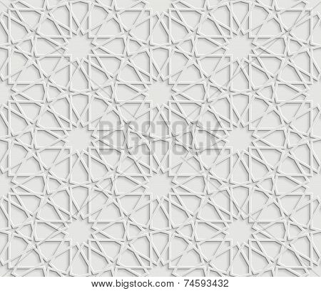 Islamic Star Pattern on White Background