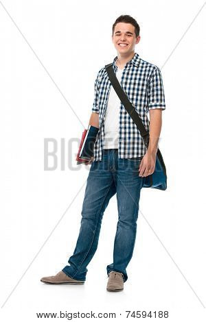 Smiling teenager with a schoolbag standing on white background