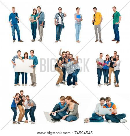 Group of students. Isolated over white background
