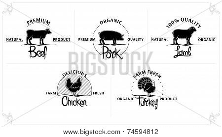Set of Vintage Meat Labels