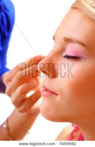 Pretty Woman Applying Make Up.