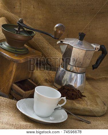 Mocha, coffee and coffee grinder