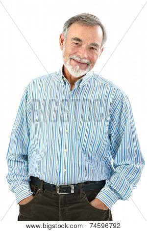 Portrait of handsome senior man standing on white background