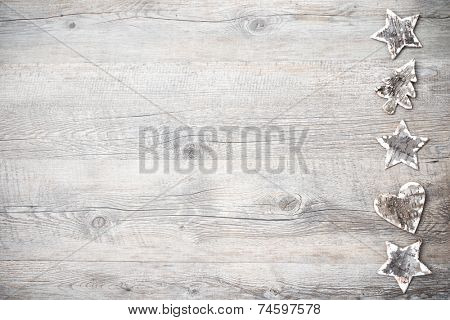 Christmas decoration from birch bark over the wooden background
