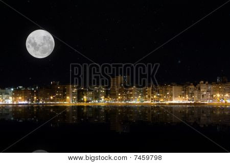 Moon over night city