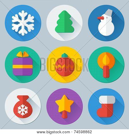 Christmas flat icons vector set