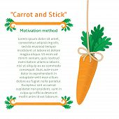stock photo of dangling a carrot  - Fresh carrot on rope - JPG