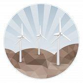 stock photo of wind-power  - Wind turbines producing eco energy - JPG