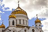 stock photo of cupola  - Golden cupola of Christ the Saviour Cathedral in Moscow - JPG