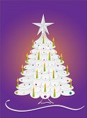 stock photo of comet  - Silver decorated Christmas spruce with candles and comet - JPG