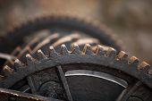 picture of gear wheels  - Close up steel cog wheels metal gears mechanical ratchets machine part industry detail  - JPG