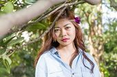 picture of filipina  - Pinoy woman in a green garden on farm - JPG