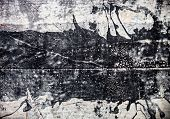 stock photo of tar  - Concrete surface stained with black coal tar - JPG