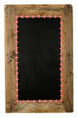 foto of wooden pallet  - Chalkboard christmas restaurant menu board reclaimed pallet wooden frame and small red gingham stars isolated on white with copy space - JPG