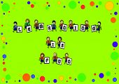 stock photo of bulletin board  - Stick figure kids hold letters spelling  - JPG