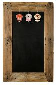 picture of wooden pallet  - Chalkboard christmas restaurant menu board reclaimed pallet wooden frame and shabby chic tin bells decoration isolated on white with copy space - JPG