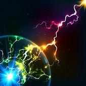 picture of cosmic  - Rainbow colors shining cosmic plasma vector lightning - JPG