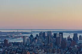 image of nightfall  - Aerial view of Downtown Manhattan - JPG