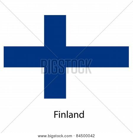 Flag  Of The Country  Finland. Vector Illustration.