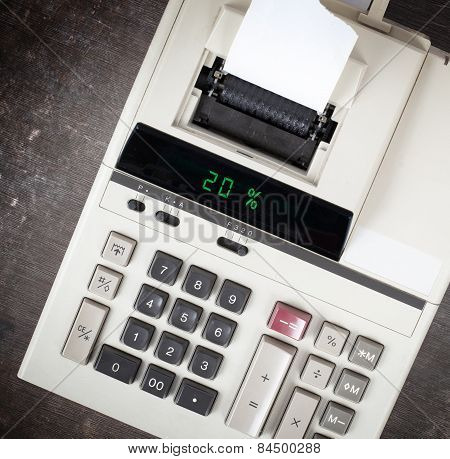 Old Calculator Showing A Percentage - 20 Percent