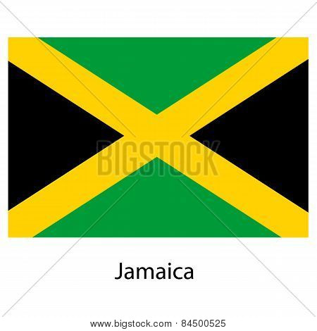 Flag  Of The Country  Jamaica. Vector Illustration.