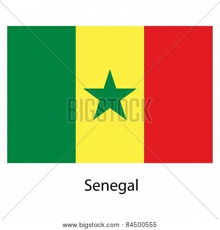 Flag  Of The Country Senegal. Vector Illustration.