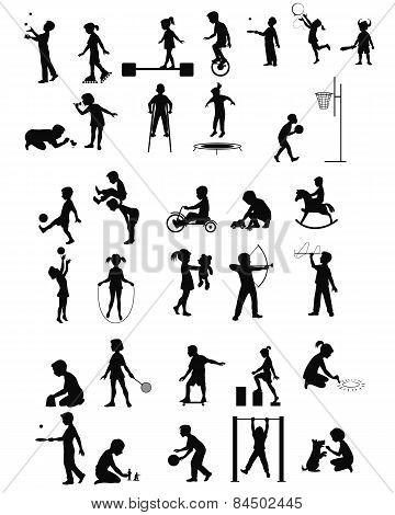 Playing Children Silhouettes Set