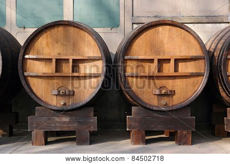 Huge wooden barrels