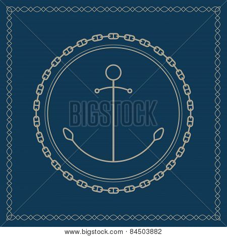 Marine emblem with anchor and chain