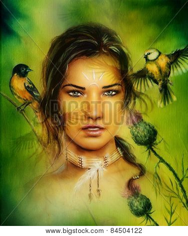 Beautiful Portrait Of A Young Enchanting Woman Face With Birds, On Green Painting Background
