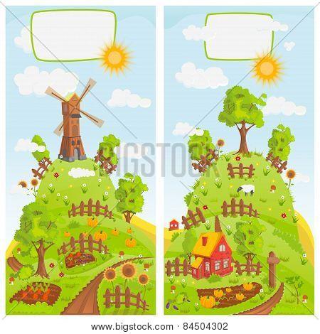 Rural landscapes vector