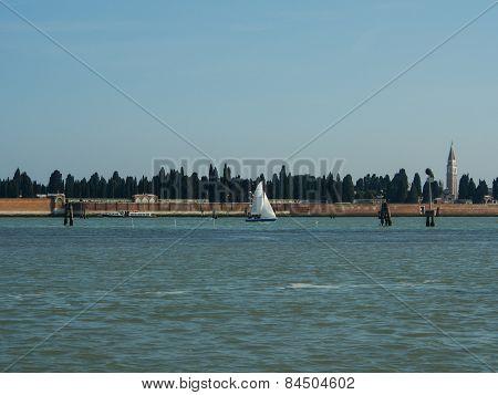 Sailing Boat In Venice Laguna Waters