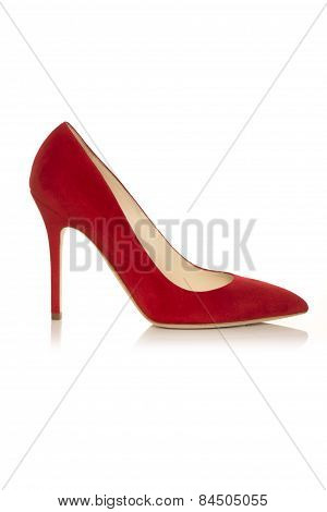 Red Female  Low Shoe  On A White Background