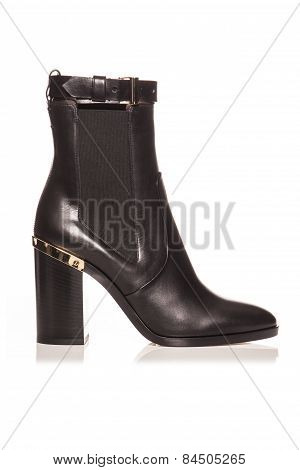Black Boots On A White Background
