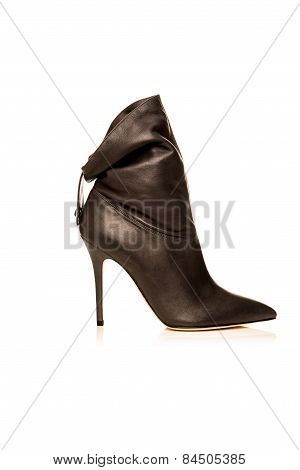 Black Female  Boot On A White Background