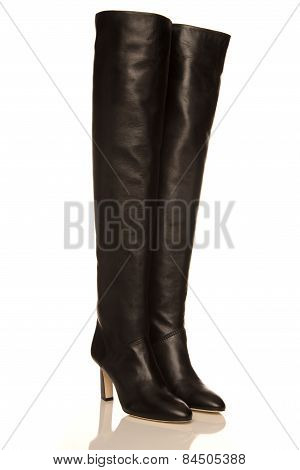 Black High Boots On A White Background