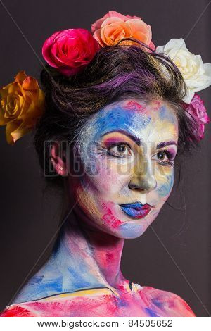 Creative, bright, color makeup