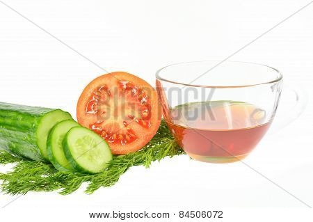 Sliced Cucumber Into Slices Next Half Tomato Dill And Sunflower Oil Cup