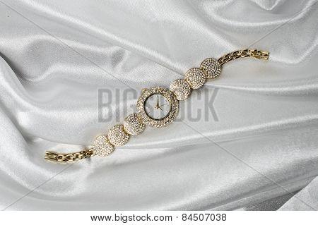 Women's Wrist Gold Watch With Diamonds