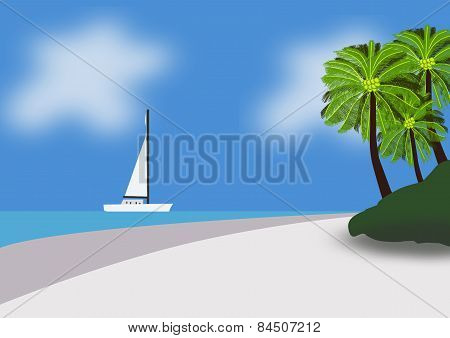 Yacht Sailing To A Tropical Paradise