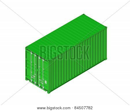 Green Metal Freight Shipping Container Isolated On White