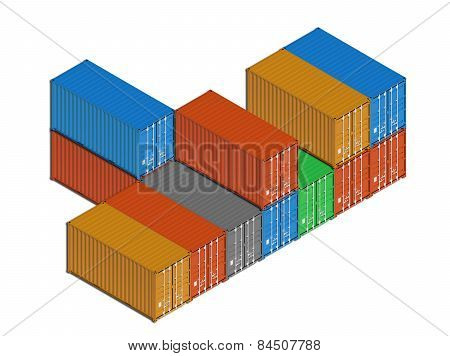 Stacked Colorful Metal Freight Shipping Containers On White