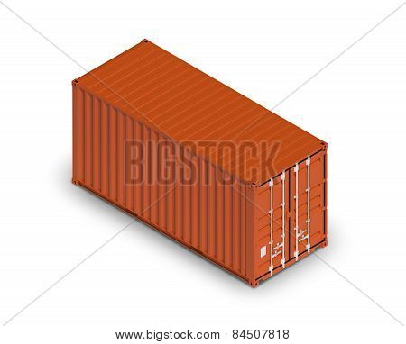 Red Freight Shipping Container Isolated On White With Shadow
