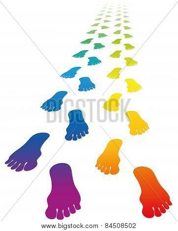 Footprints Love Couple Rainbow Colors