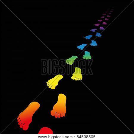 Footprint Rainbow Gradient Black