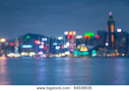 Blurred Defocused Lights of Hong kong city night life