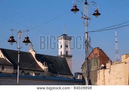 Lviv City Hall, temple and tv tower